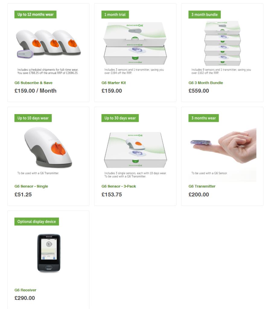 Товарная матрица товаров Dexcom CGM UK Store. Нам нужен второй товар в верхней строчке.